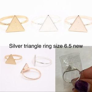Last 1! Silver triangle ring size 6.5 new